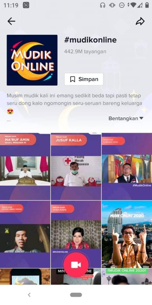 Kampanye Mudik Online 2020 oleh Gugus Tugas di TikTok
